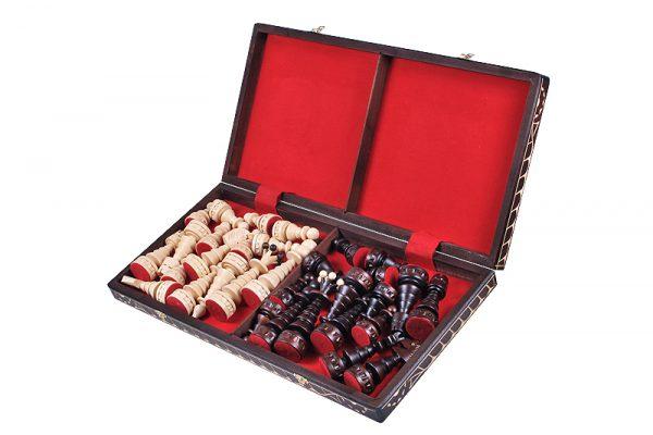 handmade wooden festive chess set