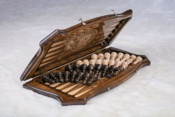 Schachspiel Backgammon Buchenholz 40 cm