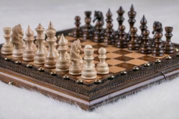 Schachspiel und Backgammon Buchenholz 30 cm