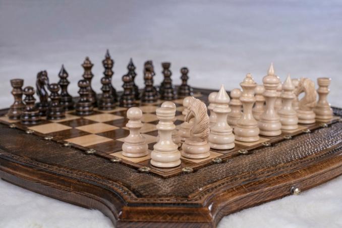Schachspiel und Backgammon Buchenholz 60 cm