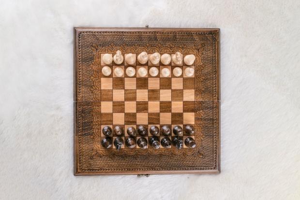 Schachspiel und Backgammon Buchenholz Bronze 40 cm